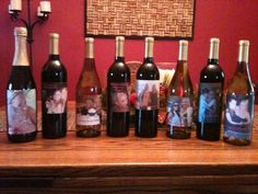 Cute Wedding Idea: Ask your bridesmaids to be a part of the day in a special way, put pictures of yourself with each girl on a bottle of wine. How fun!