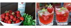 Strawberry Mojitos:  5 fresh strawberries  5 fresh mint leaves   1 teaspoon of Agave Nectar   1/2 lime  2 ounces light rum  soda water