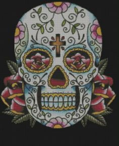 Mexican Sugar Skulls | this will be a challenge mexican sugar skull cross stitch