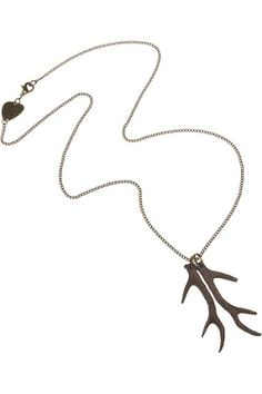 Wooden Antlers Pendant from Tatty Devine -   Lovely long tarnished gold chain featuring wooden antlers pendants. The pendants are carved from a beech coloured lightweight timber to resemble deer antlers.  This piece will be treasured for its subtle beauty, and can be worn by both guys and dolls. As the antlers are separate, you could even buy the pendant and give half to a loved one, so that you have an antler each.  Each antler is 5cm long on a 60cm length chain $55