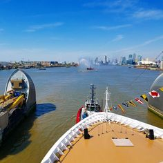 Viking Sea passing the Thames Barriers en route to christening in Greenwich. The largest ship ever christened in London harbor. May 5, 2016. One of my top travel experiences...ever.