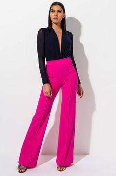 High waisted, wide leg trouser by AKIRA. Pink Pants Outfit, Hot Pink Pants, Formal Pants Women, Wedding Outfits For Women, Chic Outfits, Fashion Outfits, Pink Trousers, Queen Outfit, Professional Outfits