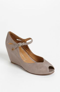 Jeffrey Campbell 'Regina' Wedge from Nordstrom  Teardrop cutouts and a precious peep toe lend feminine allure to a plush mary jane lifted by a sleekly covered wedge.