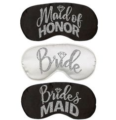 "Outfit the whole ""I Do Crew"" for a good night of rest with these Bridal Party Sleep Masks! Slip them into a favor bag for a thoughtful gift at the bachelorette party! Spa Bachelorette Parties, Bachelorette Party Scavenger Hunt, Black Mask, Sleep Mask, Silver Glitter, Maid Of Honor, Thoughtful Gifts, Masks, Rest"