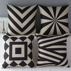 Vintage Black White Geometric Cotton Linen Cushion Cover Throw Home Pillow Case #Unbranded