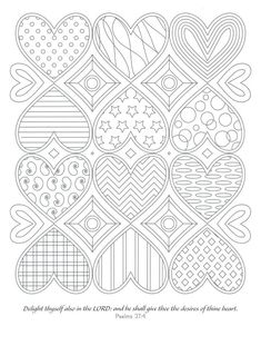 Devotional Coloring: Visual Scriptures A Meditative Coloring Book Valentine Coloring Pages, Heart Coloring Pages, Printable Adult Coloring Pages, Mandala Coloring Pages, Colouring Pages, Coloring Books, Pattern Coloring Pages, Coloring Sheets, My Funny Valentine