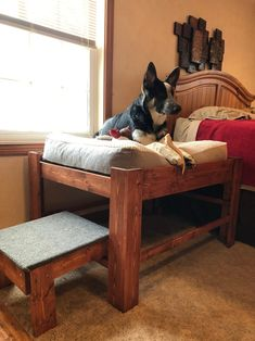 Large Dog Bed with Step or Ramp-Wood Raised Dog Bed Elevated Dog Bed Platform Pet Furniture Wood Pet Bed Window Apartment Dog Bed Wood Dog Bed, Pallet Dog Beds, Diy Dog Bed, Dog Pillow Bed, Dog Bed Ramp, Large Dog Bed Diy, Large Dogs, Homemade Dog Bed, Pet Beds Diy
