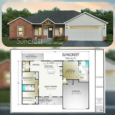 The Suncrest is a perfect 1504 square foot plan. This open concept plan inclu. 3 Bedroom Floor Plan, House Plans 3 Bedroom, Garage House Plans, New House Plans, Small House Plans, House Design Plans, Open Concept House Plans, Sims House Plans, Small House Floor Plans
