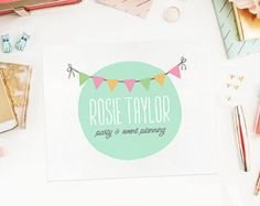 Premade Logo Design for small business   Cute Bunting & Flags Logo for Photography, Party, Event Planner, Baby Products, Handmade, Bakery.