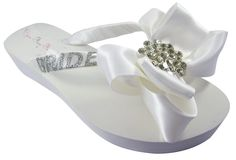 Bridal Flip Flops Bride Bling Glitter Wedge Bow Wedding Platform Rhinestone Sandals Satin Shoes >>> You can find more details by visiting the image link.