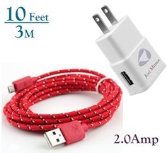 Josi Minea® 10ft / 3M Fabric Braided Premium High Quality Nylon Micro USB Charger 2.0-Amp for Samsung Galaxy S6 / S6 Edge / S5 / S4 / S3 / S2 , Samsung Galaxy Note / Note 2 / 3 / 4, Galaxy Tab, Google Nexus 7 / 10, Nokia Lumia, and Most Android Tablets / Android Phones / Windows Phones - New Style Micro USB Connector - 10 Feet / 3 Meter (Red) Nexus 7, Google Nexus, Android Phones, Windows Phone, Samsung Galaxy S6, Galaxy Note, Charger, Usb