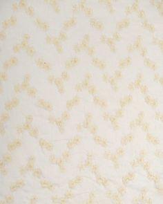 Embroidered Cotton Voile Fabric   Cream on White   Truro Fabrics