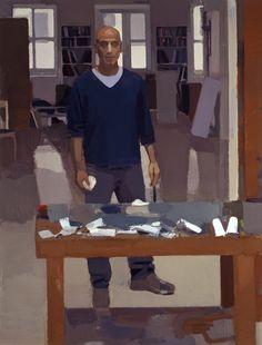 "Self Portrait, 2009, oil on linen, 66"" x 50""    John Dubrow"