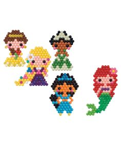 AquaBeads Disney Princess Character Set Toy Over 600 classic and jewel beads in 16 colors just add water hours of fun with favorite dory characters no glue necessary create your favorite disney princess. Pony Bead Patterns, Pearler Bead Patterns, Beading Patterns, Embroidery Patterns, Kandi Patterns, Jewelry Patterns, Bracelet Patterns, Disney Princess Characters, Disney Princess Ariel