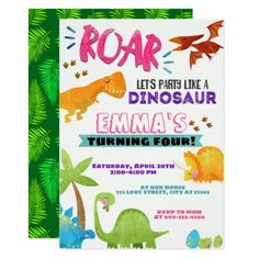 Watercolor Party Like a Dinosaur Girl's Birthday Invitation #Birthday #BirthdayInvitations #BirthdayInvites Dinosaur Birthday Invitations, Dinosaur Birthday Party, First Birthday Parties, Birthday Party Themes, Girl Birthday, Birthday Ideas, T Rex, Custom Invitations, Watercolor