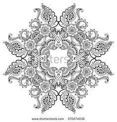 Hand Drawn Flower Frame In Black Ink And Blank Oval Center Elegant Vintage Floral Doodle