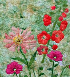 art quilts peony. poppies applique by BarbaraHarmsFiberArt