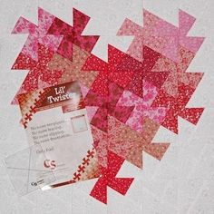 quilt blocke for Valentines Day: Lil' Twister Heart ...  luv how hese reds and pinks work so well together ...