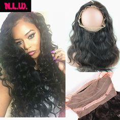 60.00$  Buy now - http://alil90.worldwells.pw/go.php?t=32725838154 - 8A Unprocessed Brazilian virgin human Hair 360 lace frontal band for black women, Body wave lace band frontal in 22x4x2inches 60.00$