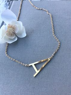 Gold Initial Necklace Letter A Alphabet Necklace Large A Initial Gold Filled Minimalist Necklace Gold Sideways Letter Girlfriend Gift Dainty Diamond Necklace, Initial Necklace Gold, Initial Jewelry, Mom Jewelry, Jewelery, Minimalist Necklace, Minimalist Jewelry, Alphabet Necklace, Trendy Necklaces