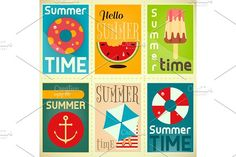 Summer Time Posters Set 1 by elfivetrov on @creativemarket