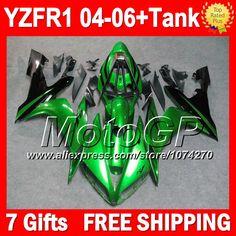 Дешевое 7 подарки + зеленый черный для YAMAHA YZFR1 04 06 YZF R1 YZF1000 P10113 YZF 1000 YZF R1 04 05 06 глянцевый зеленый 2004 2005 2006 обтекатели, Купить Качество Щитки и художественная формовка непосредственно из китайских фирмах-поставщиках:                              Удостоверение личности aliexpress: MotoGP