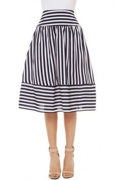 Vintage Striped Midi Skirt