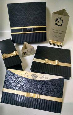 Convite preto e dourado Caixa preta e dourada Cardápio dourado