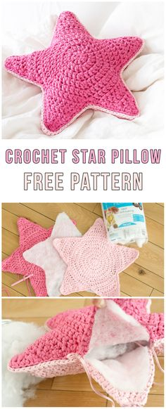 Crochet Star Pillow Free Pattern #diy #diyproject #howto #crochet #crochetpattern #freepattern #pillows #cushion #homedecor #homedecorideas #handmade #handcrafted #yarn #hook #pink #star #sofa #sofaideas