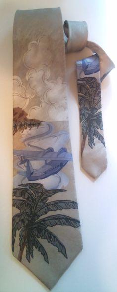 Tropical Hawaiian Airplane 100% Silk Necktie,Palm Trees,  Novelty tie, Casablanca by AArchanaAndCo on Etsy