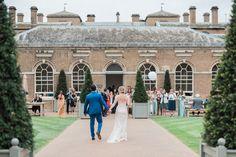 The Bride and Groom arrive at the Lady Elizabeth Wing, Holkham Hall.  Wedding, Wedding Venue, Norfolk Wedding, Wedding Venue Norfolk, Bride and Groom, Courtyard