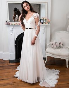 Peter Trends soft chiffon gown with lace sleeves - style LV 5424