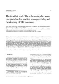 Ties that Bind: Caregivers and TBI Survivors need family support.