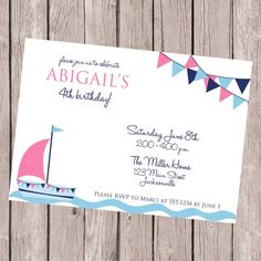 Birthday Party Invitation, Nautical Invitation, Sailboat, Nautical Birthday, First Birthday, Printable Invitation, Personalized Invitation on Etsy, $12.00