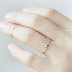 Sterling silver Skinny ring with tiny CZ by laonato on Etsy