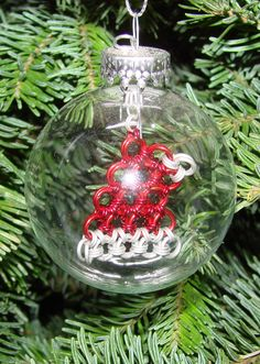 25/8 Clear Glass Ornament with a Chainmaille by PleasantPeasant, $35.00