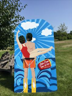 Hand painted water ski couple cutout for photo ops
