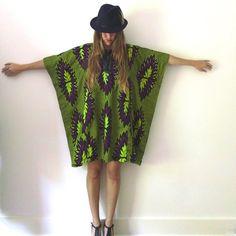 Neon Caftan Dress  //  Bold African Wax Print Cotton by JacknBoots