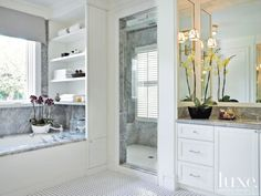 Transitional White Bathroom with Custom Cabinetry
