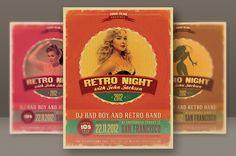 6 Retro Style Party Flyers by Peter Olexa, via Behance