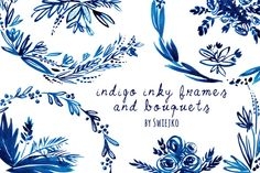 Indigo Hand painted Wreaths