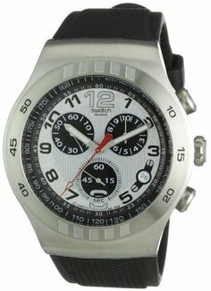Swatch Men's YOS433 Irony Chrono Silver and Black Dial Watch Swatch.