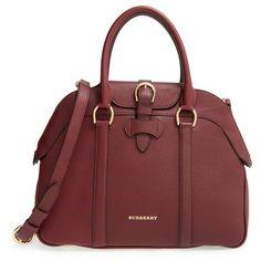 Burberry 'Medium Milverton - Derby' Satchel ($1,895) ❤ liked on Polyvore featuring bags, handbags, mahogany red, burberry, burberry bags, burberry handbags, shopper handbags and satchel purse