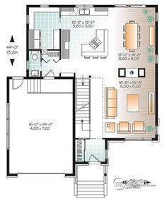 1st level Large Modern House plan, 4 bedrooms, open floor plan layout, large pantry  - Pandora