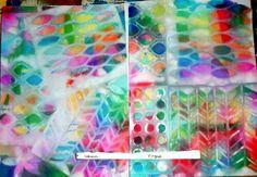 Bleeding art tissue over stencils sprayed with white vinegar