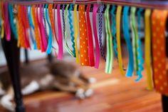Project Nursery - DIY no-sew rainbow ribbon around table Rainbow Birthday Party, 7th Birthday, First Birthday Parties, First Birthdays, Birthday Ideas, Rainbow Ribbon, Ladybug Party, Ribbon Banner, Colorful Party