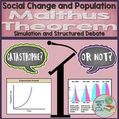Malthus Theorem Classroom Debate and Simulation Middle School Ela, High School, Social Studies Classroom, Secondary Teacher, School Subjects, New Teachers, Sociology, Teacher Resources