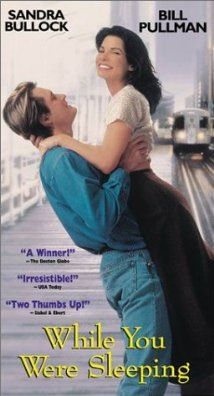 """While You Were Sleeping"" Ticket collecting romantic pretends to be engaged to an unconscious man but can't fool his brotherl. This is a really fun romantic comedy, with Sandra Bullock and Bill Pullman. See Movie, Movie List, Film Music Books, Music Tv, Music Games, Sandra Bullock, Old Movies, Great Movies, 1995 Movies"