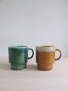 Image of drip glazed mugs