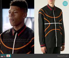 Hakeem's black shirt with orange stripes on Empire.  Outfit Details: http://wornontv.net/53179/ #Empire
